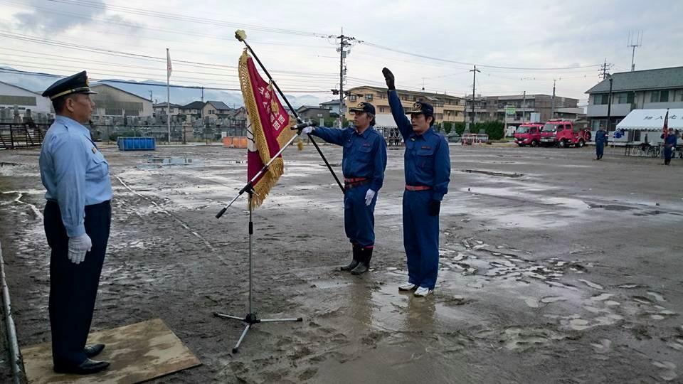 富山市消防団細入方面団の操法大会